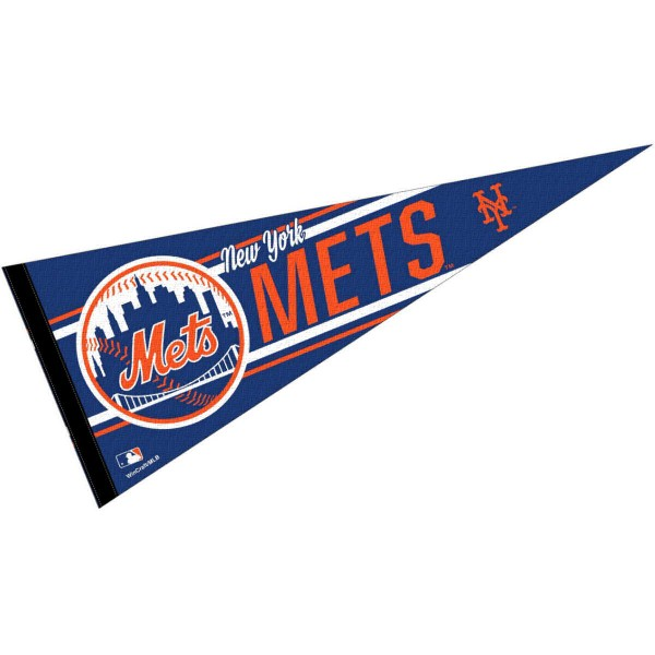This NY Mets Pennant measures 12x30 inches, is constructed of felt, and is single sided screen printed with the NY Mets logo and insignia. Each NY Mets Pennant is a MLB Genuine Merchandise product.