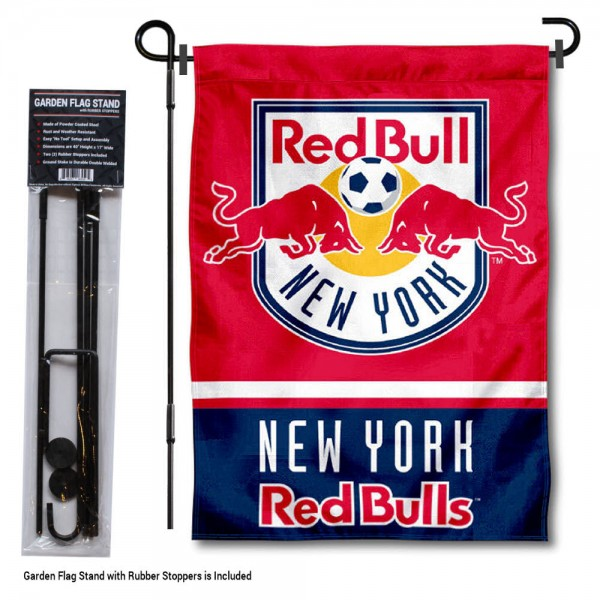 "NY Red Bull Garden Flag and Flagpole Stand kit includes our 12.5""x18"" garden banner which is made of 2 ply poly with liner and has screen printed licensed logos. Also, a 40""x17"" inch garden flag stand is included so your NY Red Bull Garden Flag and Flagpole Stand is ready to be displayed with no tools needed for setup. Fast Overnight Shipping is offered and the flag is Officially Licensed and Approved by the selected team."