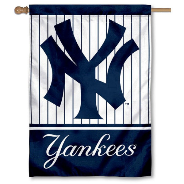 NY Yankees Double Sided House Flag is screen printed with NY Yankees logos, is made of 2-ply 100% polyester, and is two sided and double sided. Our banners measure 28x40 inches and hang vertically with a top pole sleeve to insert your banner pole or flagpole.
