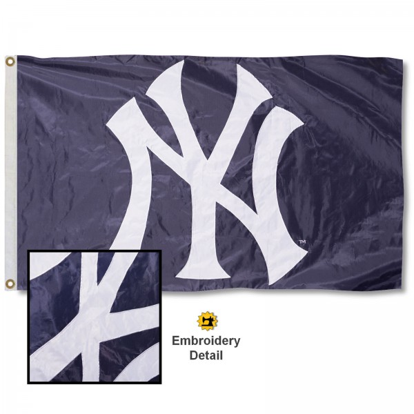This NY Yankees Embroidered Nylon Flag is double sided, made of nylon, 3'x5', has two metal grommets, indoor or outdoor, and four-stitched fly ends. These NY Yankees Embroidered Nylon Flags are Officially Approved the NY Yankees and MLB.