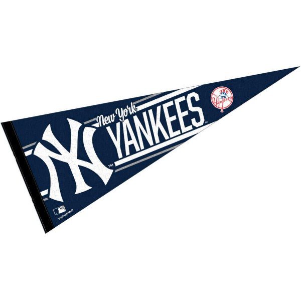 This NY Yankees Pennant measures 12x30 inches, is constructed of felt, and is single sided screen printed with the NY Yankees logo and insignia. Each NY Yankees Pennant is a MLB Genuine Merchandise product.