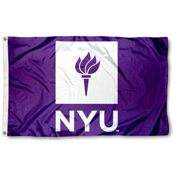 This NYU Flag measures 3'x5', is made of 100% nylon, has quad-stitched sewn flyends, and has two-sided NYU printed logos. Our NYU Flag is officially licensed and all flags for NYU are approved by the NCAA and Same Day UPS Express Shipping is available.