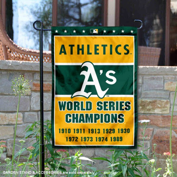 Oakland A's 9-Time World Series Champions Garden Flag is 12.5x18 inches in size, is made of 2-ply polyester, and has two sided screen printed logos and lettering. Available with Express Next Day Shipping, our Oakland A's 9-Time World Series Champions Garden Flag is MLB Genuine Merchandise and is double sided.