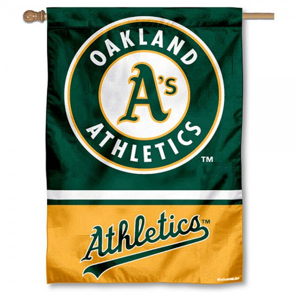 Oakland A's Double Sided House Flag is screen printed with Oakland A's logos, is made of 2-ply 100% polyester, and is two sided and double sided. Our banners measure 28x40 inches and hang vertically with a top pole sleeve to insert your banner pole or flagpole.