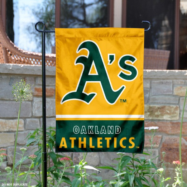 Oakland A's Garden Flag is 12.5x18 inches in size, is made of 2-ply polyester, and has two sided screen printed logos and lettering. Available with Express Next Day Shipping, our Oakland A's Garden Flag is MLB Genuine Merchandise and is double sided.