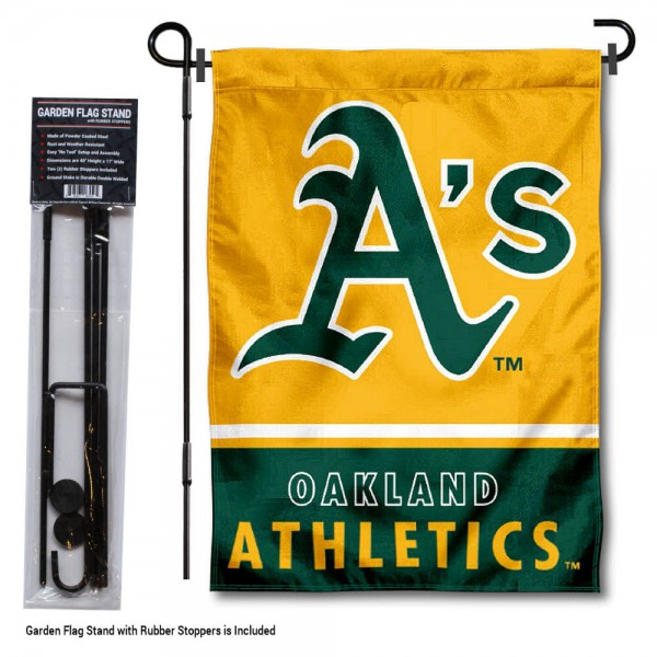 "Oakland A's Logo Garden Flag and Stand kit includes our 13""x18"" garden banner which is made of 2 ply poly with liner and has screen printed licensed logos. Also, a 40""x17"" inch garden flag stand is included so your Oakland A's Logo Garden Flag and Stand is ready to be displayed with no tools needed for setup. Fast Overnight Shipping is offered and the flag is Officially Licensed and Approved by the selected team."