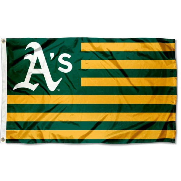 Oakland A's Nation Flag measures 3x5 feet, is made of polyester, offers quad-stitched flyends, has two metal grommets, and is viewable from both sides with a reverse image on the opposite side. Our Oakland A's Nation Flag is Genuine MLB Merchandise.