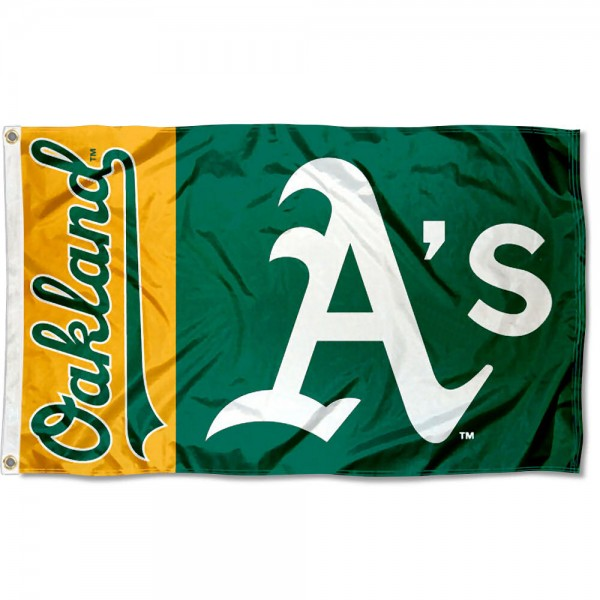The Oakland A's Outdoor Flag is four-stitched bordered, double sided, made of poly, 3'x5', and has two grommets. These Oakland Athletics Outdoor Flags are MLB Genuine Merchandise.