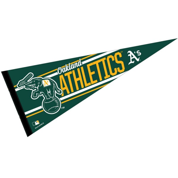 This Oakland A's Pennant measures 12x30 inches, is constructed of felt, and is single sided screen printed with the Oakland A's logo and insignia. Each Oakland A's Pennant is a MLB Genuine Merchandise product.