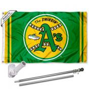 Oakland A's Vintage Flag Pole and Bracket Kit