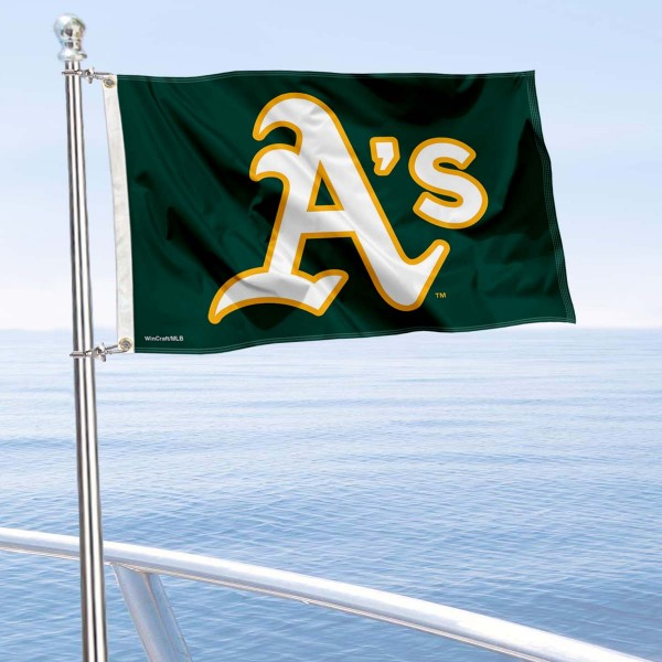 """Our Oakland Athletics Boat and Nautical Flag is 12""""x18"""", made of three-ply poly, has a solid header with two metal grommets, and is double sided. This Boat and Nautical Flag for Oakland Athletics is Officially Licensed by the MLB and can also be used as a motorcycle flag, boat flag, golf cart flag, or recreational flag."""