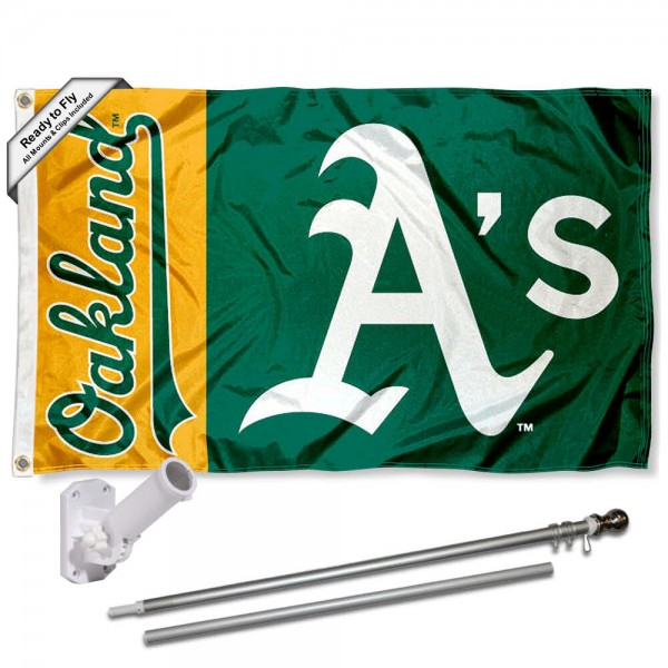 Our Oakland Athletics Flag Pole and Bracket Kit includes the flag as shown and the recommended flagpole and flag bracket. The flag is made of polyester, has quad-stitched flyends, and the MLB Licensed team logos are double sided screen printed. The flagpole and bracket are made of rust proof aluminum and includes all hardware so this kit is ready to install and fly.