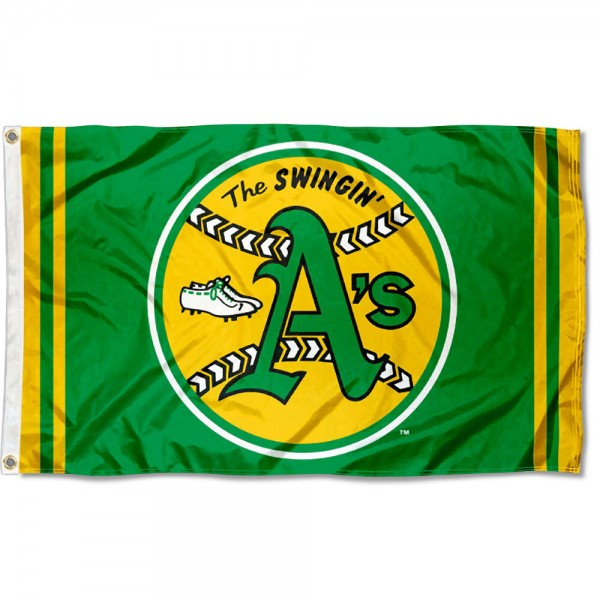 Our Oakland Athletics Retro Vintage Logo Flag is double sided, made of poly, 3'x5', has two grommets, and four-stitched fly ends. These Oakland Athletics Retro Vintage Logo Flags are Officially Licensed by the MLB.