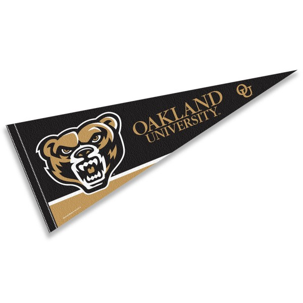 Oakland Golden Grizzlies Pennant consists of our full size sports pennant which measures 12x30 inches, is constructed of felt, is single sided imprinted, and offers a pennant sleeve for insertion of a pennant stick, if desired. This Oakland University Felt Pennant is officially licensed by the selected university and the NCAA.