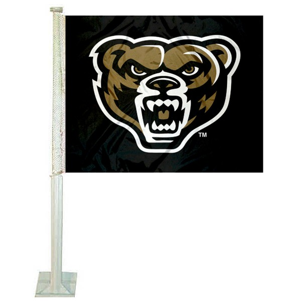 Oakland Grizzlies Car Flag measures 12x15 inches, is constructed of sturdy 2 ply polyester, and has screen printed school logos which are readable and viewable correctly on both sides. Oakland Grizzlies Car Flag is officially licensed by the NCAA and selected university.