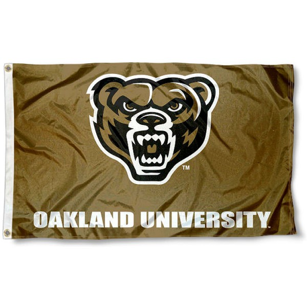 Oakland Grizzlies Gold Flag measures 3x5 feet, is made of 100% polyester, offers quadruple stitched flyends, has two metal grommets, and offers screen printed NCAA team logos and insignias. Our Oakland Grizzlies Gold Flag is officially licensed by the selected university and NCAA.