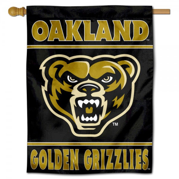 Oakland OU Grizzlies House Flag is a vertical house flag which measures 30x40 inches, is made of 2 ply 100% polyester, offers screen printed NCAA team insignias, and has a top pole sleeve to hang vertically. Our Oakland OU Grizzlies House Flag is officially licensed by the selected university and the NCAA.