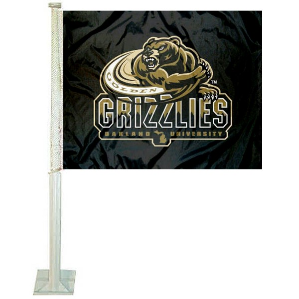 Oakland University Car Window Flag measures 12x15 inches, is constructed of sturdy 2 ply polyester, and has dye sublimated school logos which are readable and viewable correctly on both sides. Oakland University Car Window Flag is officially licensed by the NCAA and selected university.