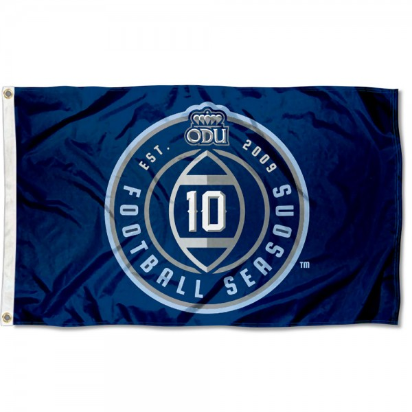 ODU Monarchs 10 Football Seasons Flag measures 3x5 feet, is made of 100% polyester, offers quadruple stitched flyends, has two metal grommets, and offers screen printed NCAA team logos and insignias. Our ODU Monarchs 10 Football Seasons Flag is officially licensed by the selected university and NCAA.