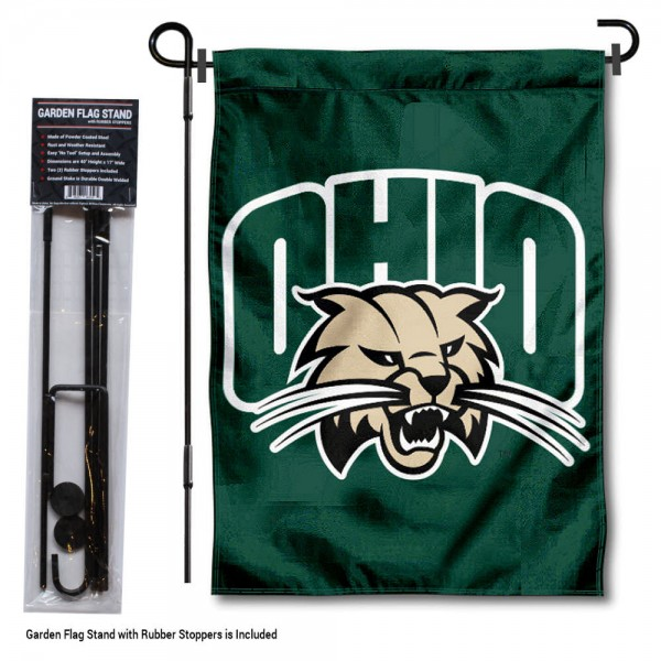 "Ohio Bobcats Garden Flag and Pole Stand kit includes our 13""x18"" garden banner which is made of 2 ply poly with liner and has screen printed licensed logos. Also, a 40""x17"" inch garden flag stand is included so your Ohio Bobcats Garden Flag and Pole Stand is ready to be displayed with no tools needed for setup. Fast Overnight Shipping is offered and the flag is Officially Licensed and Approved by the selected team."