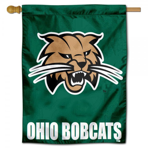 "Ohio Bobcats House Flag is constructed of polyester material, is a vertical house flag, measures 30""x40"", offers screen printed athletic insignias, and has a top pole sleeve to hang vertically. Our Ohio Bobcats House Flag is Officially Licensed by Ohio Bobcats and NCAA."