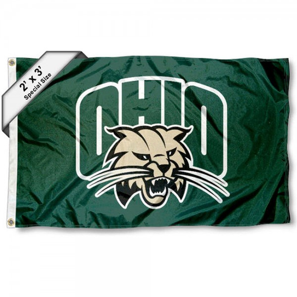 Ohio Bobcats Small 2'x3' Flag measures 2x3 feet, is made of 100% polyester, offers quadruple stitched flyends, has two brass grommets, and offers printed Ohio Bobcats logos, letters, and insignias. Our 2x3 foot flag is Officially Licensed by the selected university.