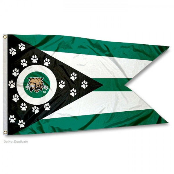 Ohio Bobcats State of Ohio Flag measures 3x5 feet, is made of 100% polyester, offers quadruple stitched flyends, has two metal grommets, and offers screen printed NCAA team logos and insignias. Our Ohio Bobcats State of Ohio Flag is officially licensed by the selected university and NCAA.