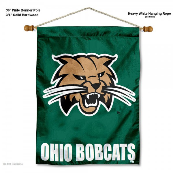 "Ohio Bobcats Wall Banner is constructed of polyester material, measures a large 30""x40"", offers screen printed athletic logos, and includes a sturdy 3/4"" diameter and 36"" wide banner pole and hanging cord. Our Ohio Bobcats Wall Banner is Officially Licensed by the selected college and NCAA."