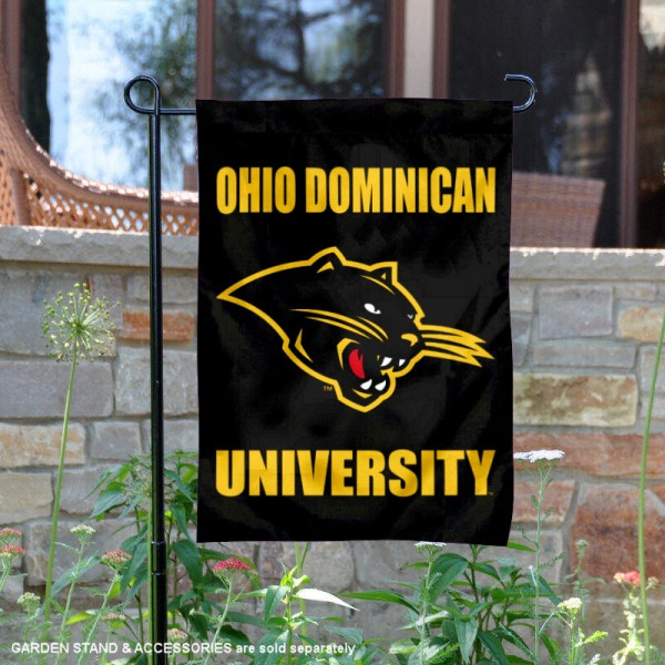 Ohio Dominican Panthers Garden Flag is 13x18 inches in size, is made of 2-layer polyester, screen printed university athletic logos and lettering, and is readable and viewable correctly on both sides. Available same day shipping, our Ohio Dominican Panthers Garden Flag is officially licensed and approved by the university and the NCAA.