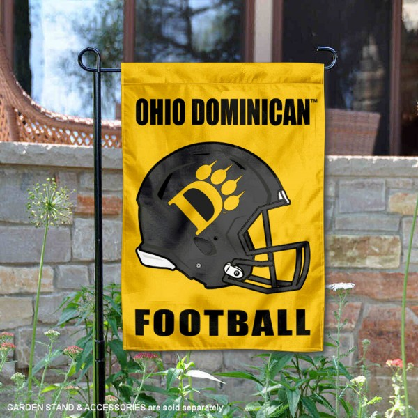 Ohio Dominican Panthers Helmet Yard Garden Flag is 13x18 inches in size, is made of 2-layer polyester with Liner, screen printed university athletic logos and lettering, and is readable and viewable correctly on both sides. Available same day shipping, our Ohio Dominican Panthers Helmet Yard Garden Flag is officially licensed and approved by the university and the NCAA.