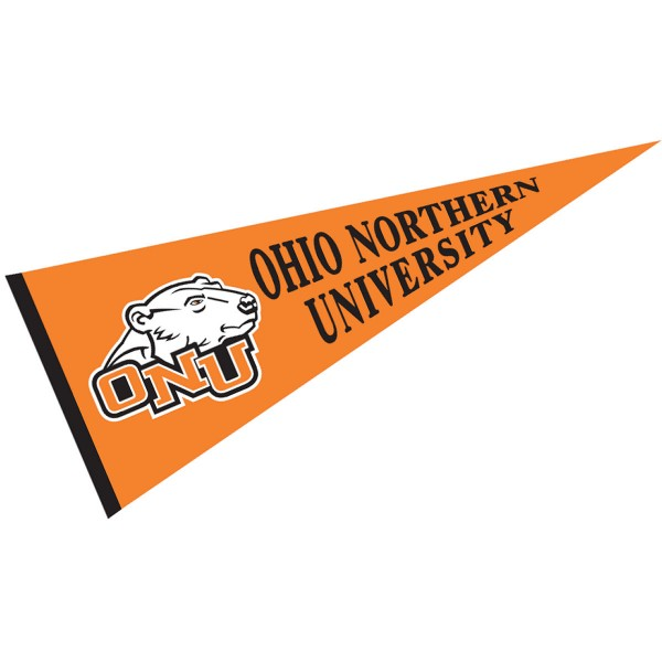 Ohio Northern University Pennant measures 12x30 inches, is made of wool, and the School logos are printed with raised lettering. Our Ohio Northern University Pennant is Officially Licensed and Approved by the University or Institution.