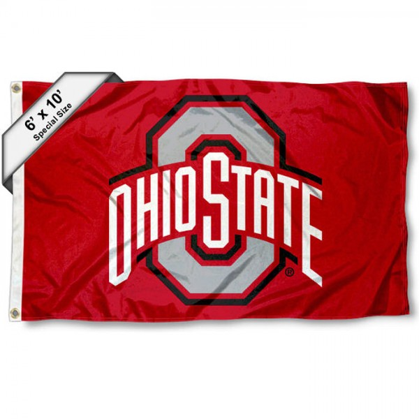 Ohio State Buckeyes 6'x10' Flag measures 6x10 feet, is made of thick poly, has quadruple-stitched fly ends, and Ohio State Buckeyes logos are screen printed into the Ohio State Buckeyes 6'x10' Flag. This Ohio State Buckeyes 6'x10' Flag is officially licensed by and the NCAA.