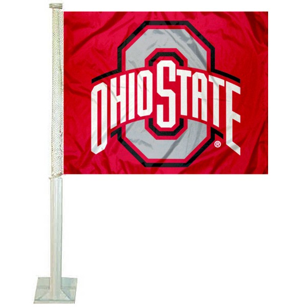 Ohio State Buckeyes Athletic Logo Car Flag measures 12x15 inches, is constructed of sturdy 2 ply polyester, and has screen printed school logos which are readable and viewable correctly on both sides. Ohio State Buckeyes Athletic Logo Car Flag is officially licensed by the NCAA and selected university.