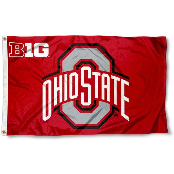 Ohio State Buckeyes Big 10 Flag measures 3x5 feet, is made of 100% polyester, offers quadruple stitched flyends, has two metal grommets, and offers screen printed NCAA team logos and insignias. Our Ohio State Buckeyes Big 10 Flag is officially licensed by the selected university and NCAA.