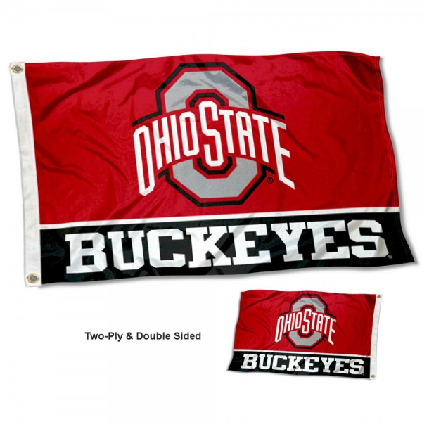Ohio State Buckeyes Double Sided Flag measures 3'x5', is made of 2 layer 100% polyester, has quadruple stitched flyends for durability, and is readable correctly on both sides. Our Ohio State Buckeyes Double Sided Flag is officially licensed by the university, school, and the NCAA.