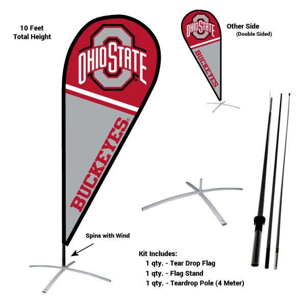 Ohio State Buckeyes Feather Flag Kit measures a tall 10' when fully assembled. The kit includes a Feather Flag, 3 Piece Fiberglass Pole, and matching Metal Feather Flag Stand. Our Ohio State Buckeyes Feather Flag Kit easily assembles and is NCAA Officially Licensed by the selected school or university.