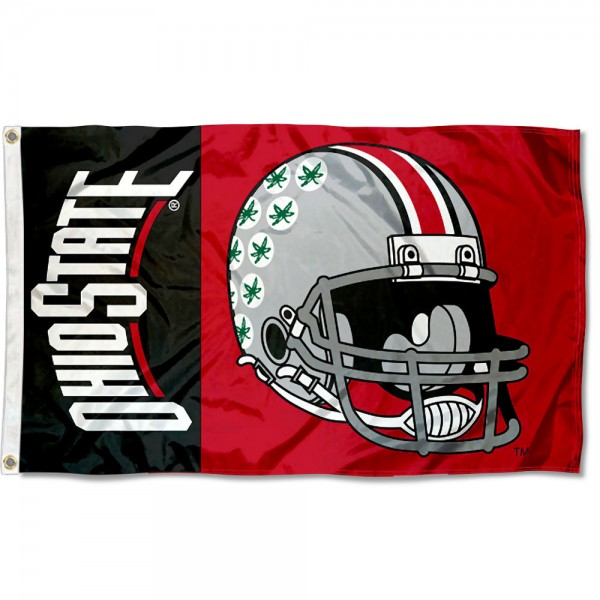 Ohio State Buckeyes Football Helmet Flag measures 3x5 feet, is made of 100% polyester, offers quadruple stitched flyends, has two metal grommets, and offers screen printed NCAA team logos and insignias. Our Ohio State Buckeyes Football Helmet Flag is officially licensed by the selected university and NCAA.