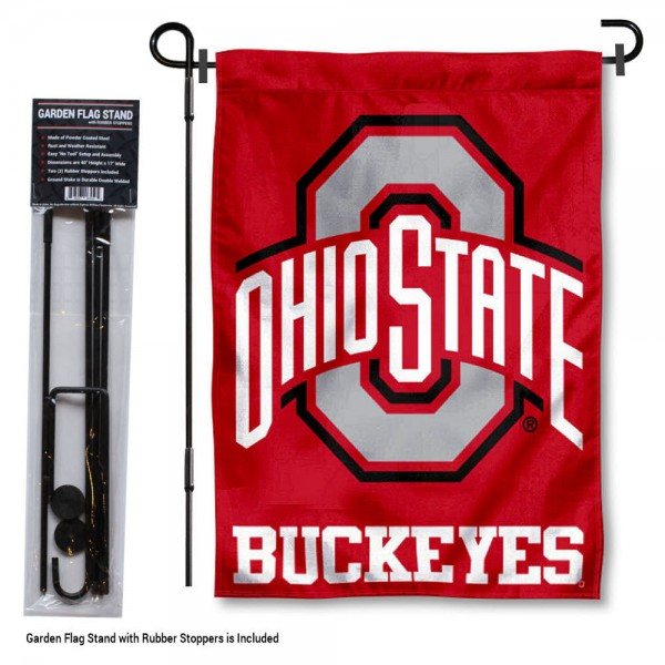 "Ohio State Buckeyes Garden Flag and Stand kit includes our 13""x18"" garden banner which is made of 2 ply poly with liner and has screen printed licensed logos. Also, a 40""x17"" inch garden flag stand is included so your Ohio State Buckeyes Garden Flag and Stand is ready to be displayed with no tools needed for setup. Fast Overnight Shipping is offered and the flag is Officially Licensed and Approved by the selected team."
