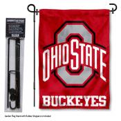 Ohio State Buckeyes Garden Flag and Stand
