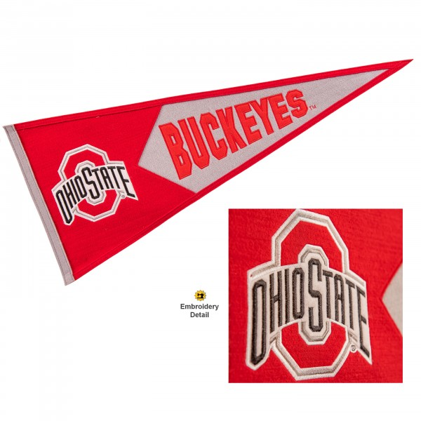 Ohio State Buckeyes Genuine Wool Pennant consists of our full size 13x32 inch Winning Streak Sports wool college pennant. The logos, lettering and insignia is quality embroidered and appliqued, feature a alternate logo color header, and has sewn wool perimeter. This Ohio State Buckeyes College Pennant Pennant is Officially Licensed and University Approved with Overnight Next Day Shipping.