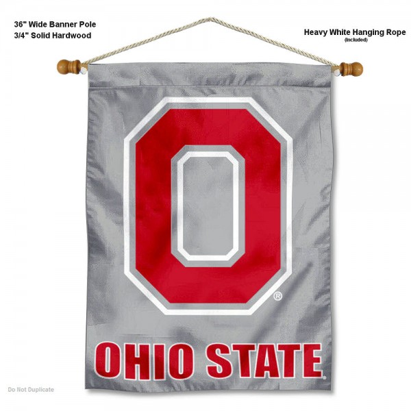 Ohio State Buckeyes Gray Block O Wall Banner