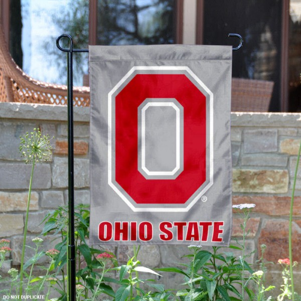 Ohio State Buckeyes Grey Block O Garden Flag is 13x18 inches in size, is made of 2-layer polyester, screen printed university athletic logos and lettering, and is readable and viewable correctly on both sides. Available same day shipping, our Ohio State Buckeyes Grey Block O Garden Flag is officially licensed and approved by the university and the NCAA.