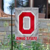 Ohio State Buckeyes Grey Block O Garden Flag