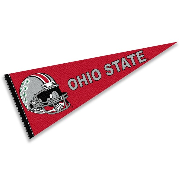 Ohio State Buckeyes Helmet Pennant consists of our full size sports pennant which measures 12x30 inches, is constructed of felt, is single sided imprinted, and offers a pennant sleeve for insertion of a pennant stick, if desired. This Ohio State Buckeyes Pennant Decorations is Officially Licensed by the selected university and the NCAA.