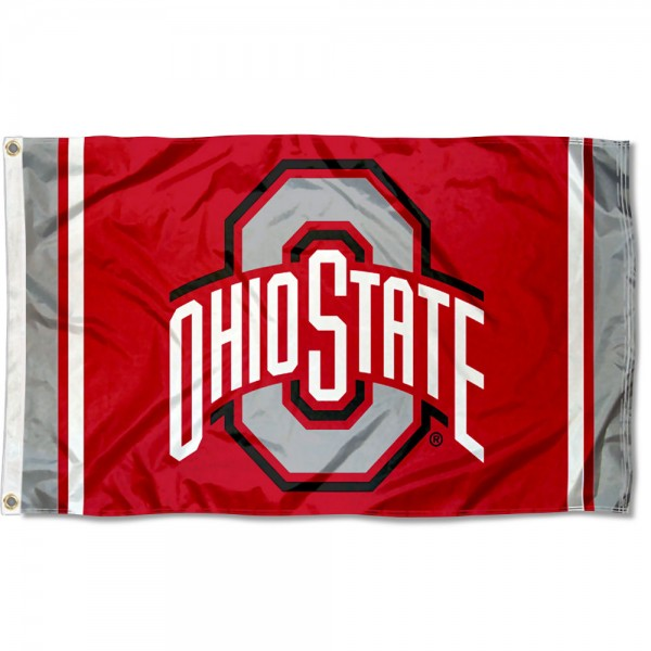 Ohio State Buckeyes Jersey Stripes Flag measures 3x5 feet, is made of 100% polyester, offers quadruple stitched flyends, has two metal grommets, and offers screen printed NCAA team logos and insignias. Our Ohio State Buckeyes Jersey Stripes Flag is officially licensed by the selected university and NCAA.