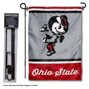 Ohio State Buckeyes Vintage Retro Throwback Garden Flag and Flagpole