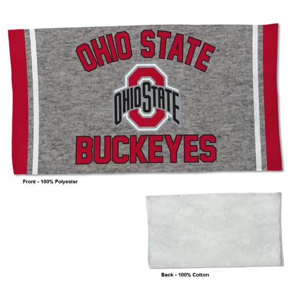 Ohio State Buckeyes Workout Exercise Towel measures 22x42 inches, is made of 100% Polyester on the front and 100% Cotton on the back, has double stitched sewing perimeter, and Graphics and Logos, as shown. Our Ohio State Buckeyes Workout Exercise Towel is officially licensed by the selected university and the NCAA. Also, machine washable and dryer safe.