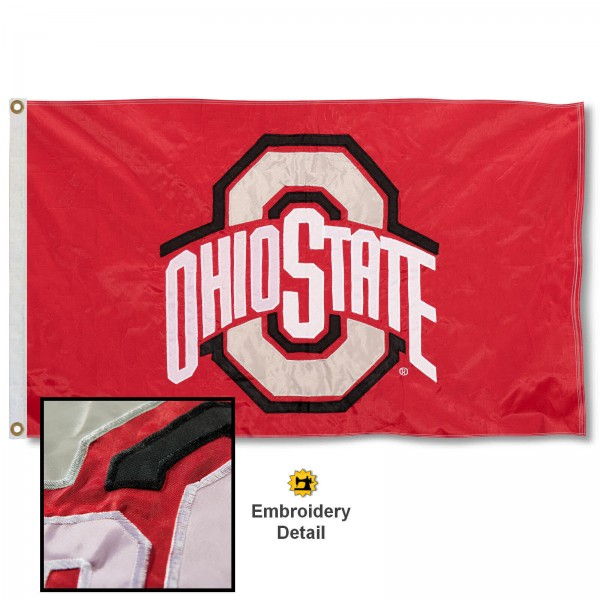 Ohio State Scarlet Nylon Embroidered Flag measures 3'x5', is made of 100% nylon, has quadruple flyends, two metal grommets, and has double sided appliqued and embroidered University logos. These Ohio State Scarlet 3x5 Flags are officially licensed by the selected university and the NCAA.