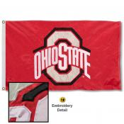 Ohio State Scarlet Nylon Embroidered Flag