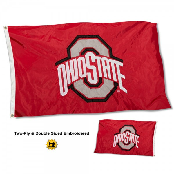 Ohio State University Flag measures 3'x5' in size, is made of 2 layer embroidered 100% nylon, has quadruple stitched fly ends for durability, and is viewable and readable correctly on both sides. Our Ohio State University Flag is officially licensed by the university, school, and the NCAA